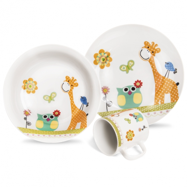 Sada jídelní porc. dětská ŽIRAFA 3 ks