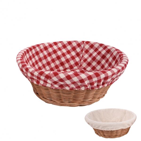 Ošatka rattan kruh+textil ASS