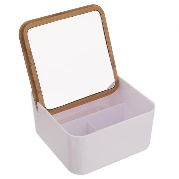 Dóza plast/bambus kosmetická+zrcadlo WHITNEY