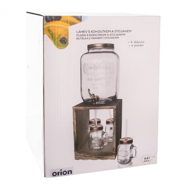 Nápojová láhev s kohoutkem 8,8 l, 4 ks sklenice