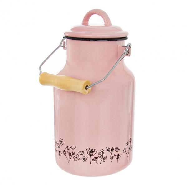 Konvice na mléko smalt růžová LOUKA 2 l