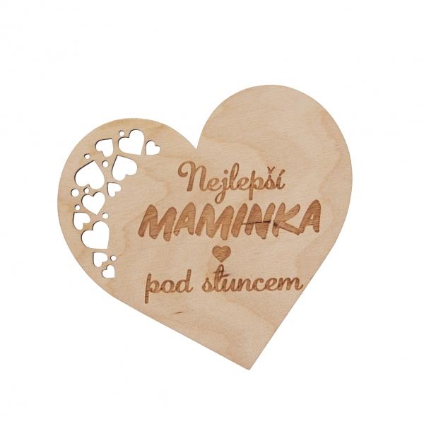 Podtácek dřevo MAMINKA 12x11 cm 1 ks