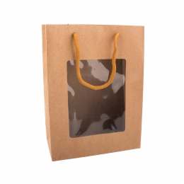 Darčeková taška s priehľadom 14x7x18 cm NATURE