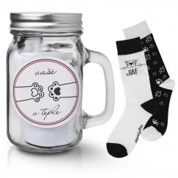 Darčekový pohár s ponožkami MILÁČIKOVIA