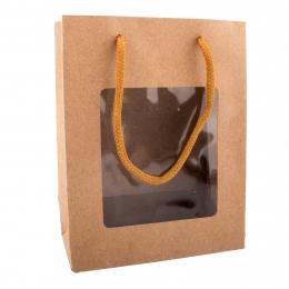 Darčeková taška s priehľadom 18x8,5x24 cm NATURE